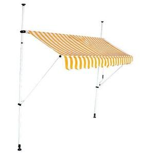 Store banne 2.5 m auvent avancée de toit rétractable manuel rayures jaunes et blanches - INTEROUGE