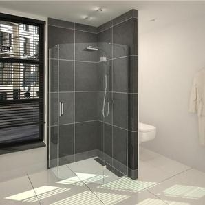 Saniclass Cansano Cabine de douche pentagonale 90x90x195cm sans receveur de douche verre transparent aluminium SW24206