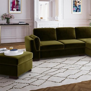CANAPÉ DANGLE DROIT 4 PLACES VERT MARIE CLAIRE HOME BREE TOUCHER VELOURS