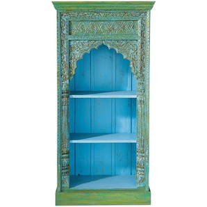 Bibliothèque indienne en manguier vert et bleu Madras