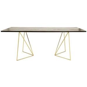Table à manger 4/6 personnes en acacia noir et métal doré L197 Jagger