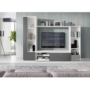 PILVI Meuble TV mural contemporain blanc et gris mat - L 220,4 cm