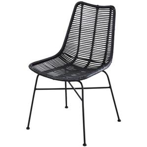 Chaise en rotin et métal noirs Pitaya