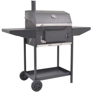 Hommoo Barbecue au charbon de bois avec étagère inférieure Noir