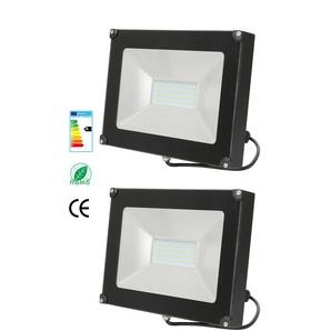 2×Anten 50W Projecteur LED Spot LED Étanche IP65 Lumière Extérieur et Intérieur 4000LM Blanc Chaud 3000K Coque Noir