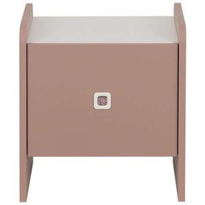 Chevet 1 porte APRIL coloris rose ombré/ blanc
