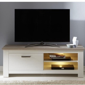 LOTTE Meuble TV Mural LED classique mélaminé décor chêne bistré et pin blanchi - L 246 cm
