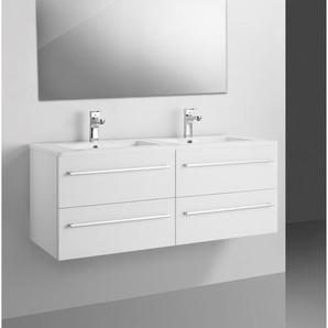 Adema Bella Set meuble de salle de bains 118.4x48.5x50.5cm avec trop plein et miroir blanc