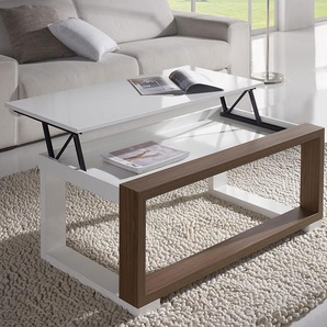 Table salon relevable blanche et couleur noyer VALERIA 110 cm