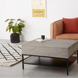 Lomond, table basse avec plateau relevable et compartiment de rangement, bois de manguier gris et métal noir