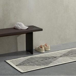 Camden, tapis de couloir en laine 66 x 200 cm, noir et écru