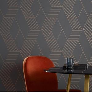 Pascal, papier peint à motif géométrique, rouleau de 10 m, gris acier et cuivre