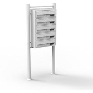 Boite aux lettres sur pieds 5 entrées Blanc 5 compartiments Revêtement poudre - WILTEC