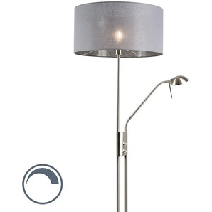 Lampadaire Moderne en acier et gris avec bras de lecture réglable - Luxor Qazqa Moderne Luminaire avec variateur interieur Rond