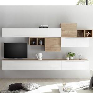 Ensemble TV mural blanc et couleur bois clair VASTO