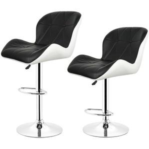 2*Tabouret de bar maison Petit déjeuner Table pivotante réglable Chaise Noir A - JEOBEST