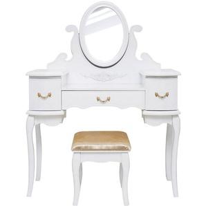 Table de maquillage, coiffeuse, table de nuit, table cosmétique,commode, blanc et doré - MUCOLA