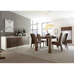 Salle à manger complète blanc laqué mat et couleur bois MARCEAU