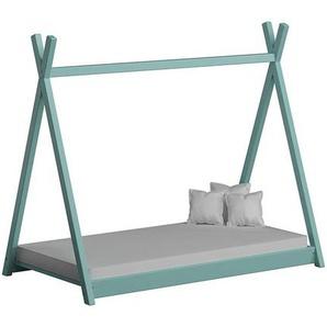 Lit cabane Tipi pour enfant - Turquoise - 70 cm x 160 cm