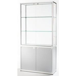 Vitrine à compartiments - 2 portes pivotantes, h x l x p 2000 x 500 x 400 mm - anodisé argent - CERTEO