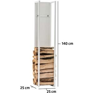 Porte-bûches Spark métal blanc/mat 25x25x140 cm - BAUWERK MANUFACTURE
