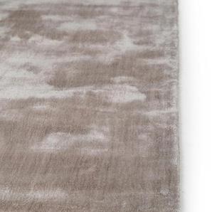 Tapis poil ras en viscose Donna Gris clair 200x200 cm - Tapis poil court design moderne pour salon
