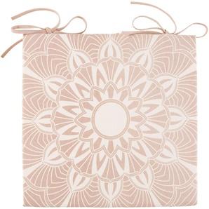 Galette de chaise en coton rose motif mandala blanc