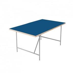 Richard Lampert Eiermann - Bureau pour enfant - bleu nuit/chant chêne/150x75cm/linoleum/structure couleur argent RAL 9006/incl. set de réglage en hauteur 55-72cm