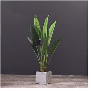 Artisanat dintérieur Salon Plancher artificielle Décoration Bonsai, Grand voyageur Banana artificielle Faux Flower Tree 101 Potted (Color : C, Size : 8 leaves)