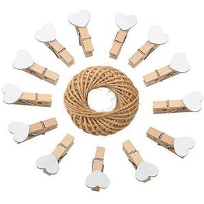 100pcs Piquets de cœur en bois, Mini Photo Paper clips avec ficelle de jute pour DIY Décorations 3.5 cm blanc