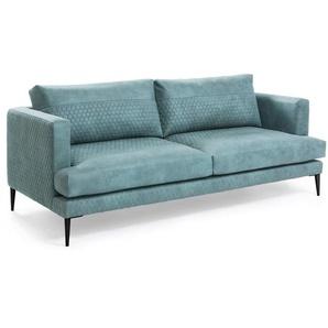 Kave Home - Canapé Tanya 3 places tissu rembourré turquoise 183 cm