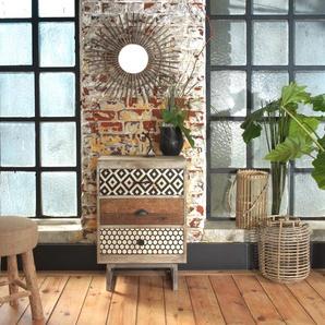 Chevet industriel patchwork bi-matière - façades graphiques