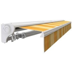 Store banne Demi coffre motorisé et manuel pour terrasse - Jaune rayé - 3,6 x 3 m - SUNNY INCH ®