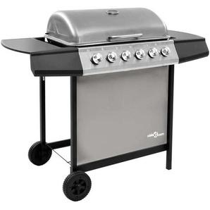 Hommoo Barbecue gril à gaz avec 6 brûleurs Noir et argenté