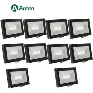 10×Anten 50W Projecteur LED Spot LED Étanche IP65 Lumière Extérieur et Intérieur 4000LM Blanc Froid 6000K Coque Noir