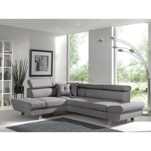Lisbona - Canapé dangle gauche convertible - L 252 x P 190cm Couleur - Gris clair - LISA DESIGN