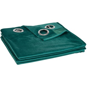 Rideau à illets vert émeraude 140x250