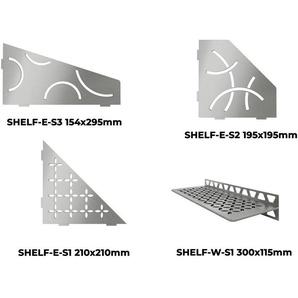 Tablette murale SHELF - TABLETTE CURVE D ANGLE SHELF-E-S2 ACIER INOX BROSSE 195x195mm - SCHLUTER