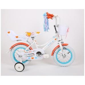 MILLY | Vélo évolutif enfant 2 roues 12 + stabilisateurs | Cadre acier Selle confort + Acessoires Panier/Rubans/Siège Jouet | Blanc/Orange - TROUV