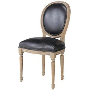 Chaise médaillon en cuir et chêne massif noire Louis