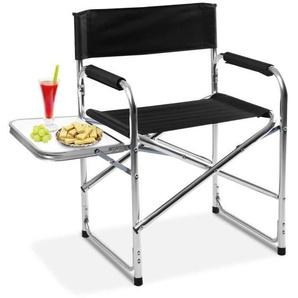 COSTWAY Chaise du directeur pliable de camping pêcheur en aluminium avec table NEUF