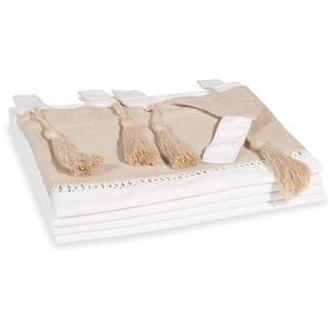 Rideau double à passants en coton blanc et beige à lunité 150x250