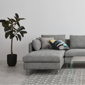 Vento, canapé dangle 3 places avec méridienne à gauche, gris rayé