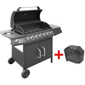 Hommoo Barbecue à gaz 6 + 1 zone de cuisson Noir