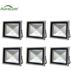 6×Auralum Projecteur LED 50W IP65 Spot LED Éclairage Extérieur et Intérieur 4200-5000LM Blanc Froid 6000-6500K Coque Gris