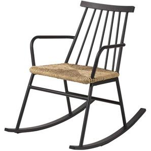 Rocking chair dextérieur en résine imitation rotin torsadé Tecoma