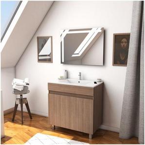 Ensemble Meuble de salle de bain chene celtique 60cm sur pied + vasque ceramique blanche + miroir led integree - STARTED pack 15 - AURLANE