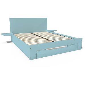 Lit Happy + tiroirs + chevets amovibles - 2 places 160x200 Bleu Pastel