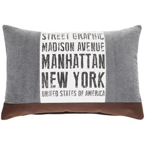 Coussin en coton gris et marron 40 x 60 cm STREET GRAPHIC