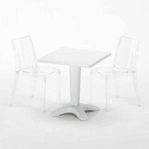 Table Carrée Blanche 70x70cm Avec 2 Chaises Colorées Grand Soleil Set Bar Café CRISTAL LIGHT TERRACE | Transparent